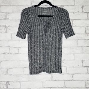 American Eagle Outfitters Grey Ribbed T-shirt